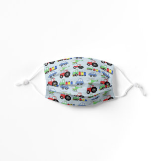 Boys Blue Car Train Tractor Helicopter Pattern Kids' Cloth Face Mask