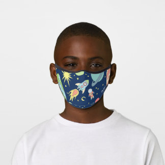 Boys Cute Blue Space Rocket Ship Astronaut Kids Premium Face Mask