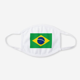Brazil Brazilian Flag Unisex For Him Dad Son Hubby White Cotton Face Mask