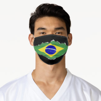 Brazilian Flag | Faux Torn Out Look Adult Cloth Adult Cloth Face Mask