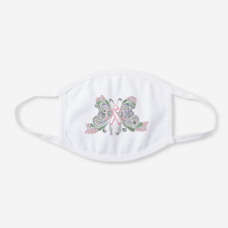 Breast Cancer Aware White Cotton Face Mask