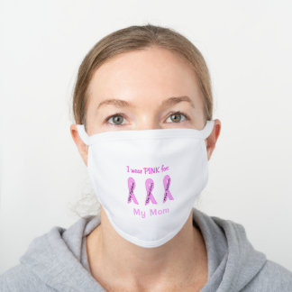 Breast Cancer Awareness Ribbons - Customize White Cotton Face Mask