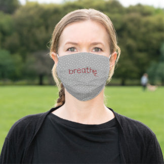 Breathe text with red thread and needle adult cloth face mask