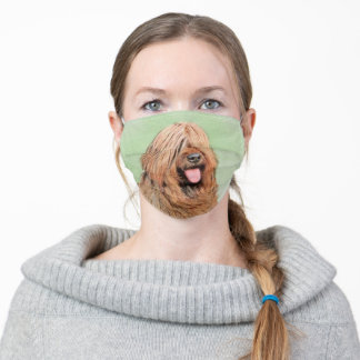Briard Painting - Cute Original Dog Art Adult Cloth Face Mask