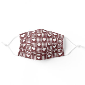 Brick Red White Checkered Plaid Tartan with Hearts Adult Cloth Face Mask