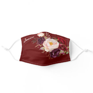 Bride Burgundy Rose Floral with Name in Script Adult Cloth Face Mask