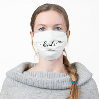 Bride Calligraphy Heart Wedding Adult Cloth Face Mask