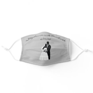 Bride Groom Wedding Bridal Party Silhouette Adult Cloth Face Mask