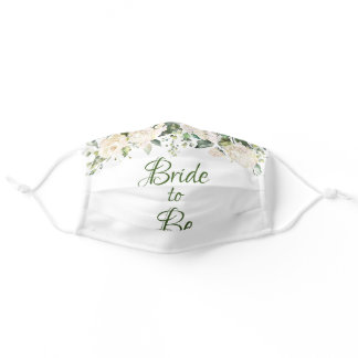 Bride to Be Elegant Floral Greenery Script Wedding Adult Cloth Face Mask
