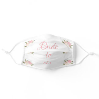 Bride to Be Pink Floral Script Wedding Adult Cloth Face Mask
