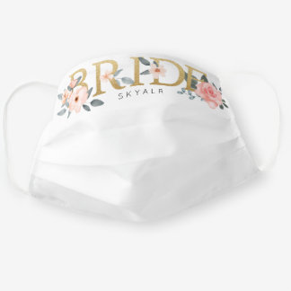 Bride Wedding Watercolour Floral Rose White Cloth Face Mask
