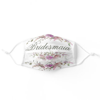 Bridesmaid Floral Watercolor Flowers Adult Cloth Face Mask