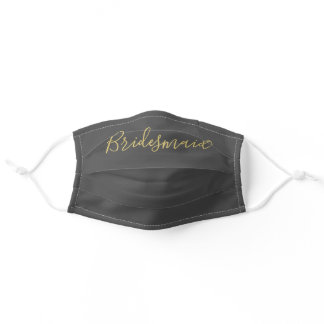Bridesmaid Grey Gold Hand Lettered Script Custom Adult Cloth Face Mask