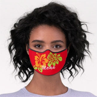 Bright Aloha Hibiscus Flower on Red Premium Face Mask
