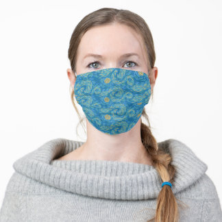 Bright Blue And Golden Yellow Van Gogh Sun and Sky Adult Cloth Face Mask