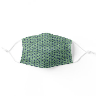 Bright Blue and Green Japanese Star Pattern Adult Cloth Face Mask