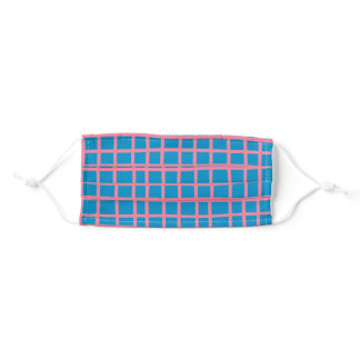 Bright Blue and Pink Abstract Grid Lines Pattern Adult Cloth Face Mask