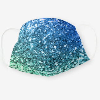 Bright Blue Green Faux Glitter Mermaid Texture Cloth Face Mask