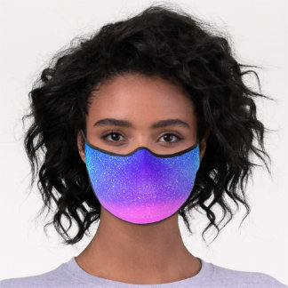Bright Blue Magenta Sparkly Glitter Ombre Safety Premium Face Mask