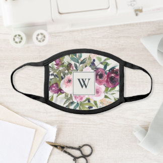 BRIGHT BLUSH BURGUNDY FLORAL MONOGRAM INITIAL FACE MASK