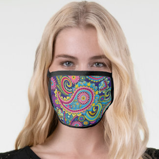Bright Colorful Paisley Floral Face Mask