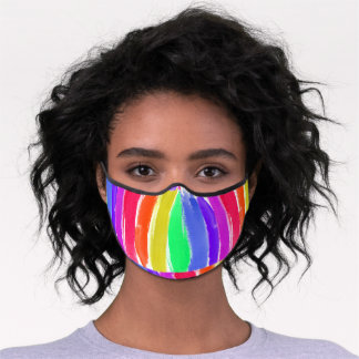 Bright Colorful Rainbow Painted Stripes Premium Face Mask