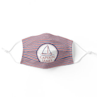 Bright Customizable Name Nautical Sail Boat Ship Adult Cloth Face Mask