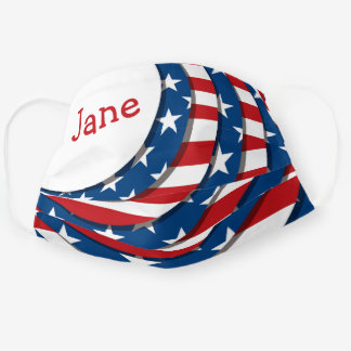Bright Customizeable Name USA Stars and Stripes Cloth Face Mask