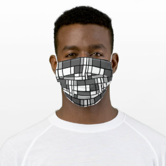 Bright Gray Black and White Tile Pattern Adult Cloth Face Mask