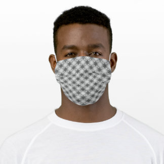 Bright Gray Black Winter White Snowflake Pattern Adult Cloth Face Mask