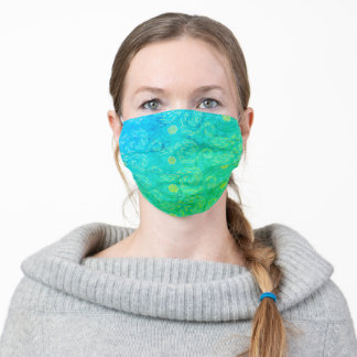 Bright Green and Blue Van Gogh Style Sun and Sky Adult Cloth Face Mask