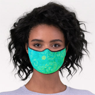 Bright Green and Blue Van Gogh Style Sun and Sky Premium Face Mask