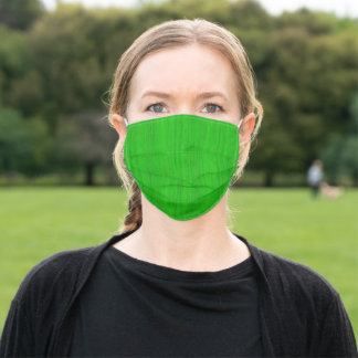 Bright Green Bamboo Wood Grain Look Adult Cloth Face Mask