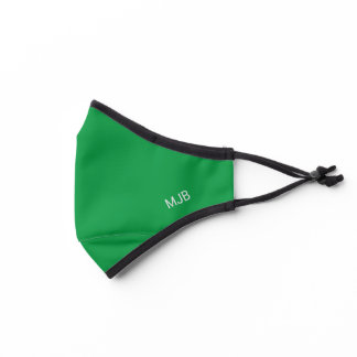 Bright Kelly Green with Monogram Initials Premium Face Mask