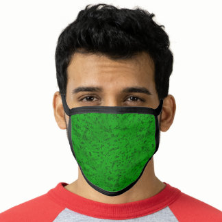 Bright Neon Green Cork Bark Look Wood Grain Face Mask