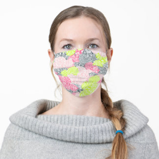 Bright neon yellow henna floral paisley pattern adult cloth face mask