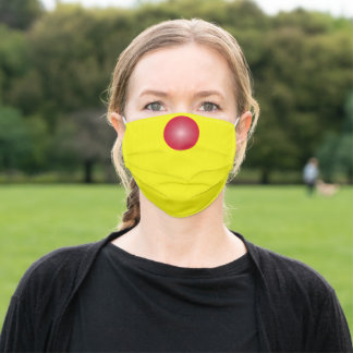 Bright Neon Yellow solid color with Red Nose Adult Cloth Face Mask