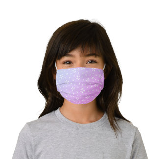 Bright Pink and Purple Floral Pattern Kids' Cloth Face Mask