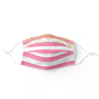 Bright Pink Cheerful Stripes with Gold Accents Adult Cloth Face Mask