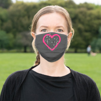 Bright Pink Music Heart Musical Notes Treble Clefs Adult Cloth Face Mask