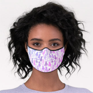 Bright Pink White Purple Cats and Kittens Pattern Premium Face Mask