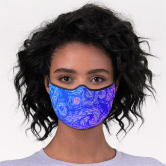 Bright Purple and Blue Van Gogh Style Sun and Sky Premium Face Mask