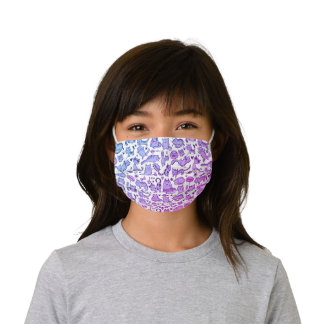 Bright Purple Pink White Cats and Kittens Pattern Kids' Cloth Face Mask