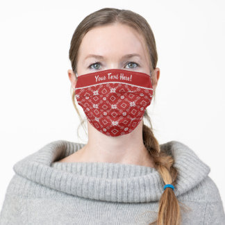 Bright Red and White Star Pattern Adult Cloth Face Mask