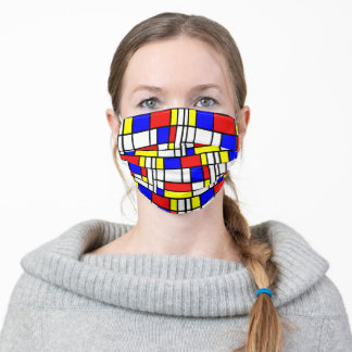 Bright Red Blue White Black Yellow Tile Pattern Adult Cloth Face Mask