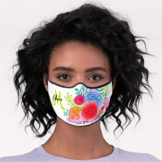 Bright Springtime Floral Sketch with Initial Premium Face Mask
