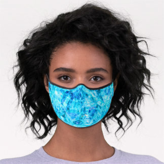 Bright Summer Azure Sky And Dark Blue Polygon Art Premium Face Mask