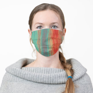 Bright Turquoise Coral Red Blended Lines Abstract Adult Cloth Face Mask
