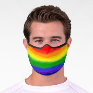 Bright Watercolor Rainbow Stripe Premium Face Mask