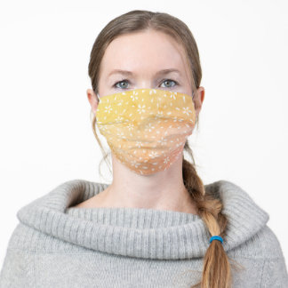 Bright Yellow and Orange Floral Pattern Adult Cloth Face Mask